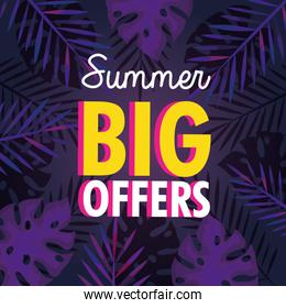 summer big offers sale banner with tropical leaves background, exotic floral banner