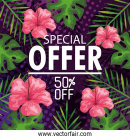special offer fifty percent discount, banner with flowers and tropical leaves background, exotic floral banner