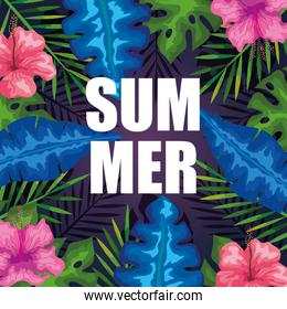 summer banner with flowers and tropical leaves background, exotic floral banner