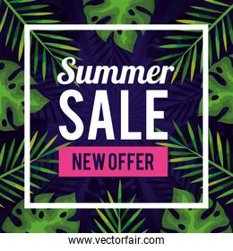 summer sale new offer, banner with tropical leaves background, exotic floral banner