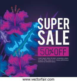 summer super sale fifty percent discount, banner with flowers and tropical leaves , exotic floral banner