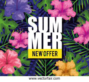 summer new offer, banner with flowers and tropical leaves background, exotic floral banner