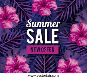 summer sale, new offer banner with flowers and tropical leaves background, exotic floral banner