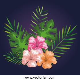 flowers with branches and tropical leaves decoration