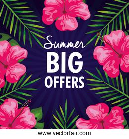 summer big offers, banner with flowers and tropical leaves , exotic floral banner