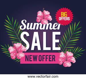 summer sale new offer, banner with flowers and tropical leaves , exotic floral banner