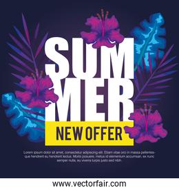 summer new offer , banner with flowers and tropical leaves , exotic floral banner