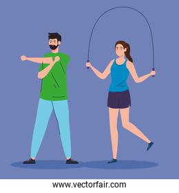 couple practicing exercise, sport recreation exercise