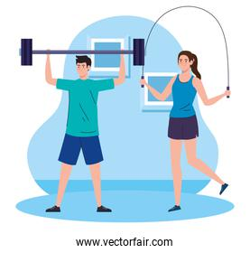 exercise at home, couple practicing exercise, using the house as a gym