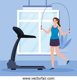exercise at home, woman practicing exercise, using the house as a gym