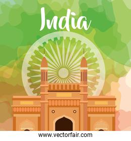 famous monument of india in background for happy independence day with ashoka wheel decoration