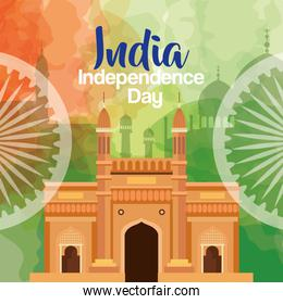 indian independence day celebration with ashoka wheels and monuments famous