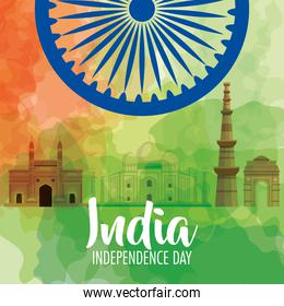 indian independence day celebration with ashoka wheel and monuments famous