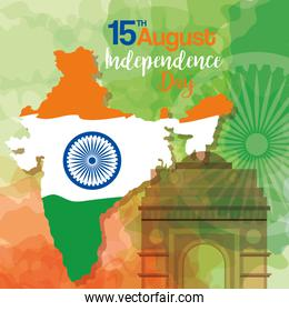 famous monuments of india   for happy independence day, map india with ashoka wheel
