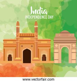 famous monuments of india in background for happy independence day