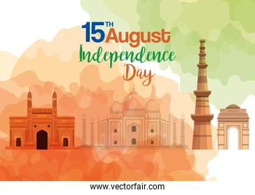 famous monuments of india in background 15th august for happy independence day
