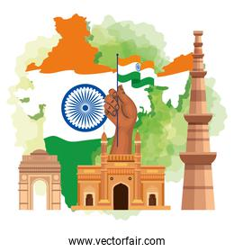 famous monuments of india in background for happy independence day, with map of india and traditions icons
