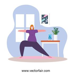 woman exercising at home, stay at home, healthy lifestyle indoor, prevention covid 19