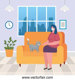 stay home, woman wearing medical mask in living room, quarantine or self isolation