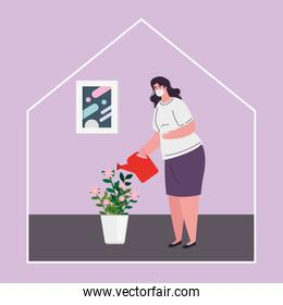 stay home, woman wearing medical mask, woman watering plants, quarantine or self isolation