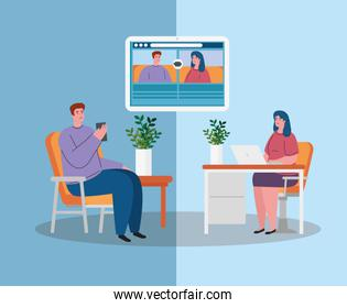 couple talk to each other, conference video call, stay at home, prevention coronavirus, covid 19