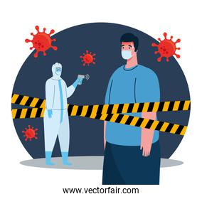 disinfection, person in viral protective suit, with digital non contact infrared thermometer and man in temperature check