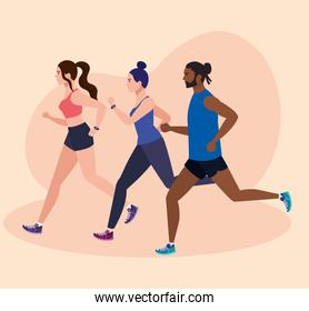 women and man running in landscape, people in sportswear jogging, persons athlete, sporty persons