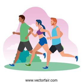 people  running in landscape, people in sportswear jogging, persons athlete, sporty persons
