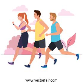 men and woman running in landscape, people in sportswear jogging, persons athlete, sporty persons