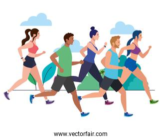 people running in landscape, group persons in sportswear jogging, people athlete, sporty persons