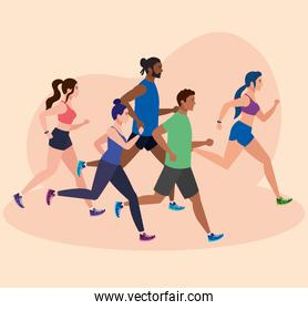people running, group persons in sportswear jogging, people athlete, sporty persons