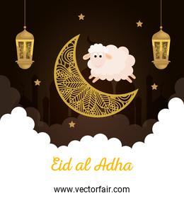 celebration of muslim community festival eid al adha, card with sacrificial sheep and moon on cloudy night background