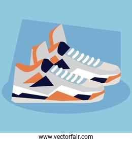 sneaker, shoes basketball on blue background