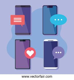 collection of mobile phones, smartphone devices with speech bubbles