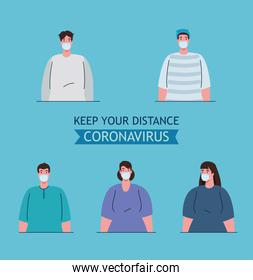 social distancing, keep distance in public society to people protect from covid 19, group people wearing medical mask against coronavirus