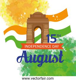 india happy independence day celebration with famous monument, 15th august celebration