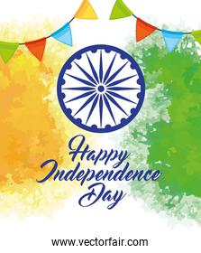 indian happy independence day with ashoka wheel decoration and garlands hanging decoration