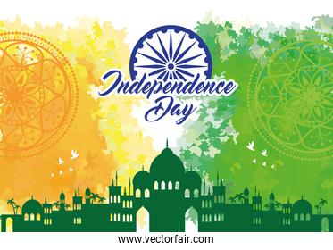indian happy independence day with ashoka wheel decoration and silhouette of famous monument