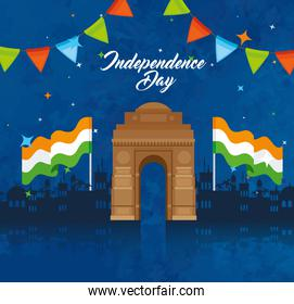 india happy independence day celebration with famous monument, garlands hanging and flags of india