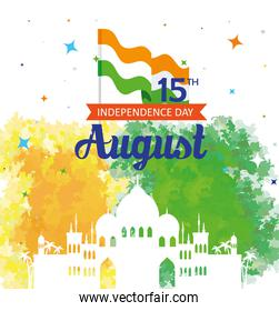 india happy independence day celebration with silhouette of famous monuments