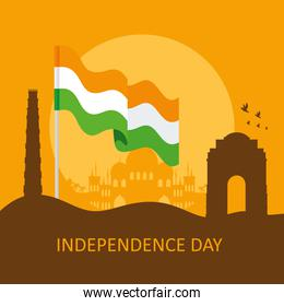 india happy independence day card with silhouette of famous monuments