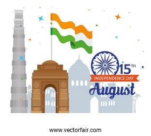 indian happy independence day with ashoka wheel decoration and famous monuments, celebration 15 august