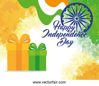 indian happy independence day with ashoka wheel decoration and gift boxes
