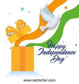 india happy independence day celebration with gift box and dove flying