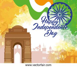 indian happy independence day with ashoka wheel decoration and famous monument