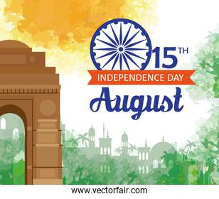 indian happy independence day with ashoka wheel decoration and famous monument, celebration 15 august