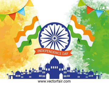 indian happy independence day with ashoka wheel decoration, garlands hanging and flags decoration