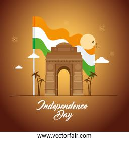 india happy independence day celebration with famous monument
