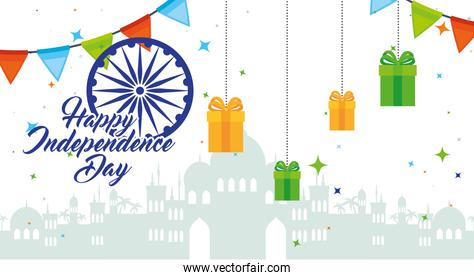 indian happy independence day with ashoka wheel and gift boxes, hanging decoration