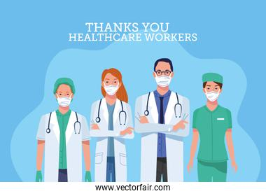 group of healthcare workers characters with thank you message